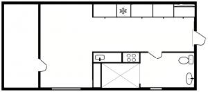 1½ værelses - plantegning