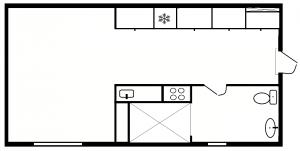 1 værelses - plantegning